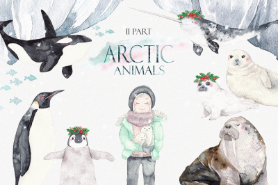 ARCTIC ANIMALS watercolor set PART 2
