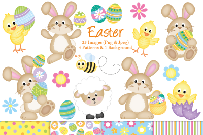 Easter clipart, Easter graphics and illustrations, Bunny