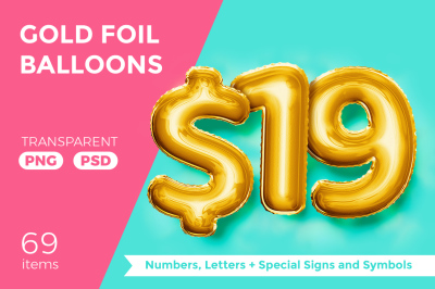 Gold Foil Balloons Letters