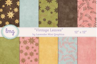 Vintage Fall Leaves Scrapbook Paper
