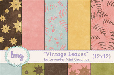 Vintage Leaves Scrapbook Paper