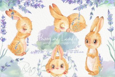 Bunny Lavender watercolor clipart kit