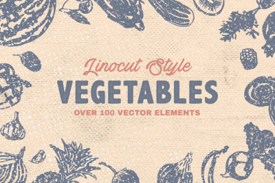 Linocut Style Vegetables