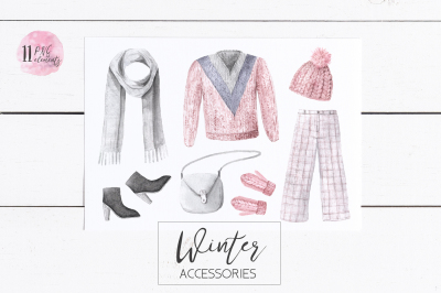 Watercolor Winter Clothes Set