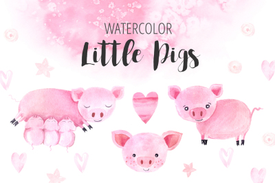 Watercolor Little Pigs Set