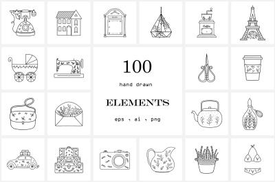 100 Hand Drawn Logo Elements