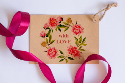 Pink Peonies flowers collection PNG watercolor set