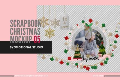Glitter Scrapbook Christmas Clipart Mockup 05