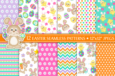 Easter digital papers, Easter patterns, Bunny patterns