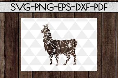 Geometric Llama SVG Cutting File, Kids Card Template, DXF, PDF