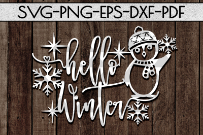 Hello Winter Cutting File, Funny Kids Decor Papercut PDF DXF
