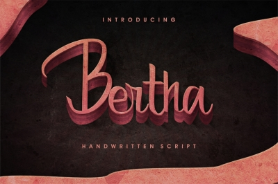 Bertha - script with English and Russian letters and ligatures.