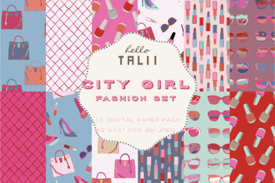 CITY GIRL FASHION DIGITAL PAPER
