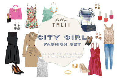 CITY GIRL FASHION CLIP ART