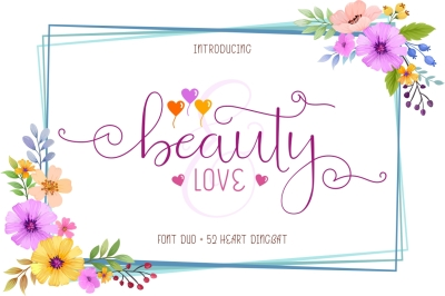 Beauty and Love - Font Duo and Extra Heart Dingbat