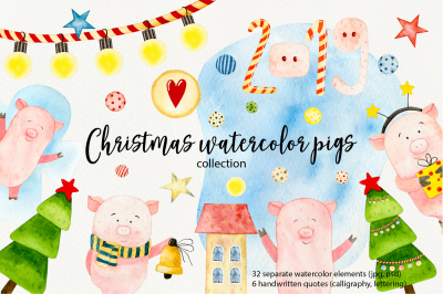 WATERCOLOR CHRISTMAS PIGS clipart