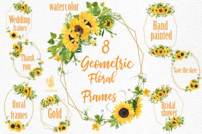 Geometric Sunflower Floral Frames