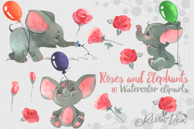 Watercolor clipart set with baby elephants and roses