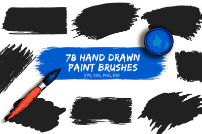 78 Hand drawn Paint Brushes, Grunge backgrounds