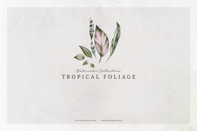 Watercolor Tropical Foliage