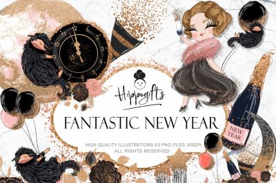 New Year Clipart,Fashion New Year Clip Art
