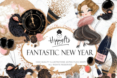 New Year Clipart,Fashion New Year Clip Art