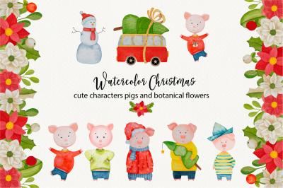 Watercolor cute pigs