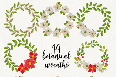 Watercolor Christmas botanical wreaths.