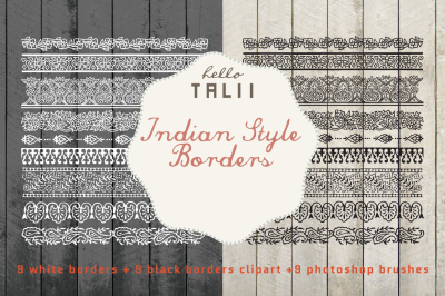 INDIAN STYLE BORDERS CLIPART + PS BRUSHES