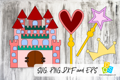 Princess Castle SVG, PNG, DXF and EPS