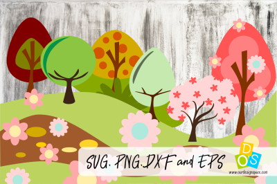 Tree Landscape SVG, PNG, DVF and EPS