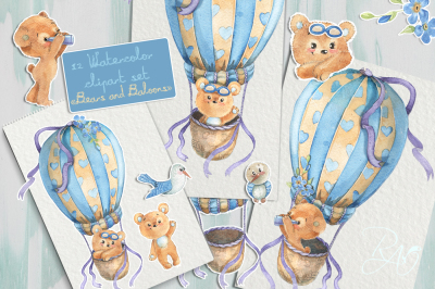 Cute watercolor bears and seagulls on a hot air balloons