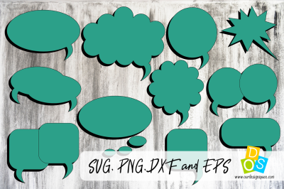 Speach Bubbles SVG, PNG, DXF and EPS files