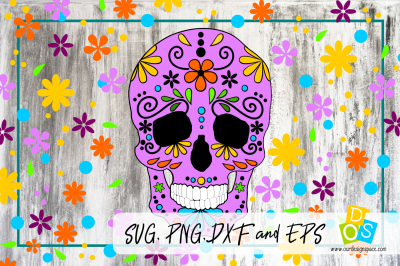 Flower Skull SVG, PNG, DXF and EPS cutting file