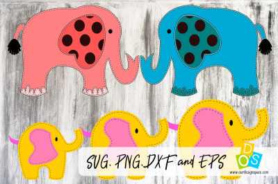 Elephant Family SVG, PNG, DXF and EPS cutting file