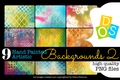 9 Hand Painted Artistic Backgrounds high quality PNG files