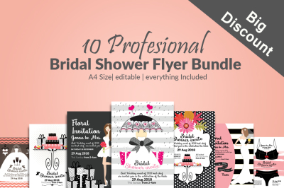 10 Bridal Shower Invitation Flyers Bundle
