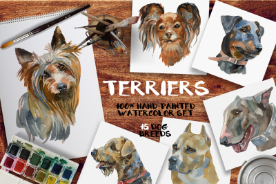 """Terriers"" watercolor set"