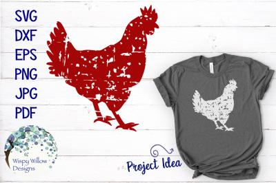 Grunge Distressed Chicken Rooster SVG