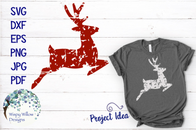 Distressed Grunge Reindeer SVG