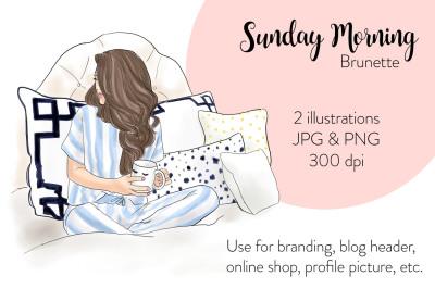 Watercolor FashionIllustration -Sunday Morning - Brunette