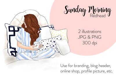 Watercolor FashionIllustration -Sunday Morning - Redhead