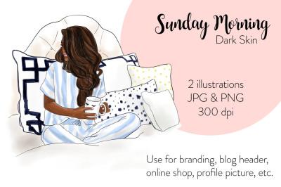 Watercolor FashionIllustration -Sunday Morning - Dark Skin