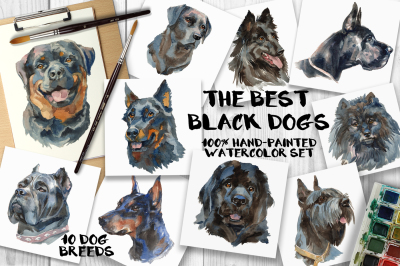 """""""The best black dogs"""" watercolor set"""