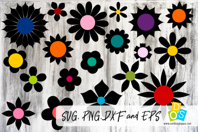 Simple Flowers SVG, PNG, DXF and EPS file