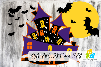 Haunted House SVG, PNG, DXF and EPS