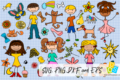 Huge Little People Doodle Bundle of 77 SVG, PNG, DXF