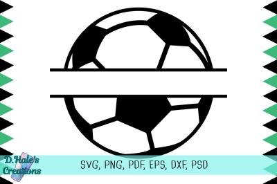 Soccer Ball Split - SVG, PNG, PDF, EPS, PSD, DXF