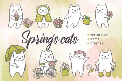 Spring's cats. Vector set.