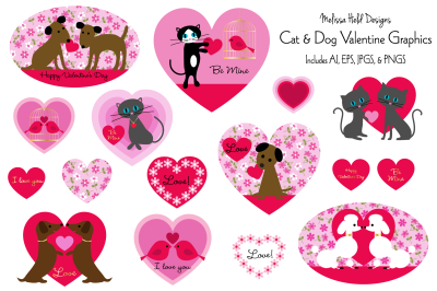 Cat and Dog Valentines Graphics